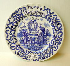 Royal Crownford Merry Christmas Happy Holiday to You Plate Blue and White 2000