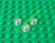 3 X  Lego 4073 Plate, Round 1 x 1 Straight Side (trans-clear)