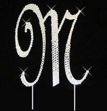 "Large Rhinestone Crystal Monogram Letter ""M""  Wedding Cake Topper  5"" inch high"