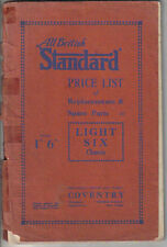 Standard Light Six Chassis 1931 Original illustrated Spare Parts Price List