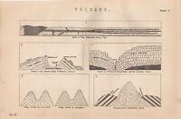 1868 Stampa ~Vulcano~ Dykes Di Trappola ~ Isle Of Skye ~ Trachytic Cupola
