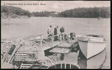 SOUTH BRISTOL MAINE ME Fisherman's Dock Vtg Postcard