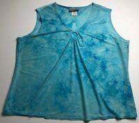 Nick & Sarah Women's Sleeveless Blouse Top 2X Plus Blue White Tie Dye Abstract