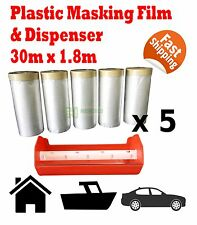6pcs Plastic Masking Film Tape 30m X 1.8m Dispenser Combo Painting Rolls Sheet