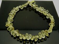 "Genuine Lemon Quartz Faceted Briolette Teardrop 6mm Gemstone Beads 8"" Strand"