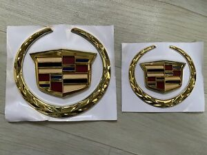 6 Inch + 4 Inch Cadillac Front Grille Rear Trunk Emblem Sticker Set For Escalade