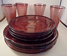 Vintage Hand Blown Bubble Glass Dishes Purple Amethyst Dinner Set of 4 Plates