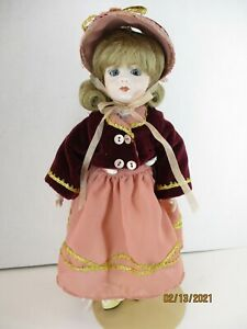 """11"""" Unique Porcelain jointed doll  hand painted face, darling handmade  outfit."""