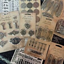 NEW Tim Holtz Lot Of 10 Rub Ons Keys Wings Crowns Spinners Pins Tags Craft More!