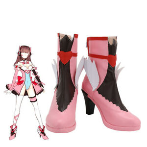 Overwatch Heroine D.Va Cosplay Shoes Anime Magical Girl Pink Boots Customize New