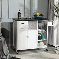 Mobile Storage Kitchen Island Cart Utility Trolley Cart w/ Towel Rack & Cabinet