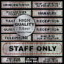 High Quality Brushed Metallic Reception Stickers Private Exit in UK SELLER No Admittance