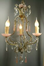 French Antique Pink Drops Opaline Crystals Murano Chandelier Macaroni Beaded
