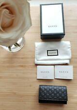 NWT Gucci men GG Guccissima original Brown Leather Mini Key Pouch