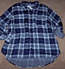 NWT Westbound Woman Navy Blue/White DOUBLE-FACED PLAID Blouse Tunic Top Shirt 2X