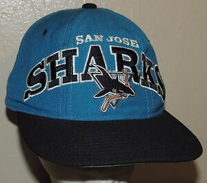 San Jose Sharks Vintage NHL Starter Snapback Hat Teal Black Wool Cap