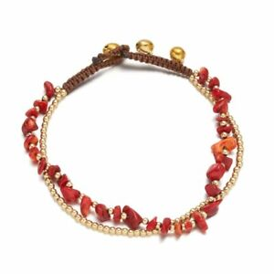Double Layer Natural Stone Beads Bell Anklet Bracelet Handmade Women Jewelry New