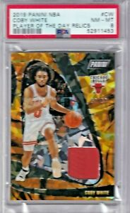 2019 Panini NBA Player of the Day #CW Rookie Patch 53/99 - COBY WHITE - PSA 8