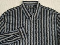 JHANE BARNES 100% Silk Button Front Shirt Mens XL Geometric Smooth Blue Black