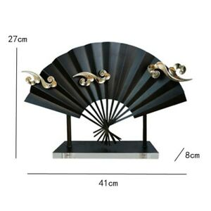 Chinese Metal Fan Sculpture Ornament Figurine Tabletop Home Office Decoration S