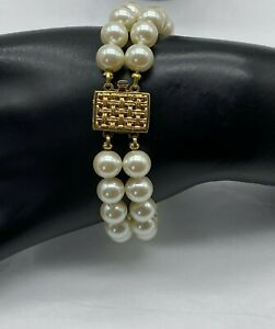 """Vintage Knotted Cultured Lustrous Pearl 8mm Double Strand Bracelet 7.5"""" Long"""
