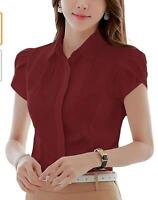 Women's Cotton Collared Pleated Button Down Shirt Short Sleeve Blouse