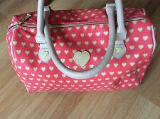 Betsey Johnson Coral hearts large Barrel bag handbag tote purse