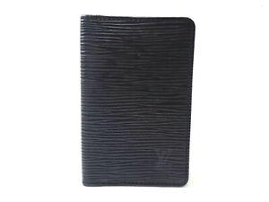 Authentic LOUIS VUITTON Epi Card Holder Organizer De Poche Small Black