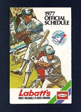 1977 Toronto Blue Jays Inaugural Season 1st Year Pocket Schedule Labatt's