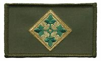 "4th Infantry Division 2"" x 3"" Hook & Loop 2 Piece Green Patch EC73443 Licensed"