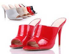 Red Sexy Womens Peep Toe Mules High Heels Dress Shoes Sandals Shoes Size 6.5