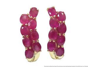 New 3.20ctw Natural Red Ruby 14k Gold Earrings Ladies Classic J Hoops Unworn