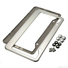 2x Metal Stainless Steel License Plate Frame W/Screw Caps Tag Cover For US Car