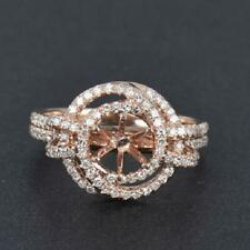 Vintage Solid 14K Rose Gold Natural Diamond Ring Setting Only Round Cut 6.5MM