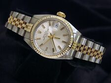 Rolex Date Ladies 2Tone 14K Yellow Gold & Steel Watch Jubilee Silver Dial 6917