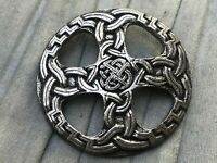 Celtic Brooch Silver Tone Large Knotted Cross Scottish Vintage Costume Jewellery