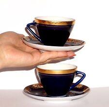 2 IMPERIAL LOMONOSOV PORCELAIN COBALT BLUE 22 k COFFEE TEA CUP & SAUCER SET LFZ