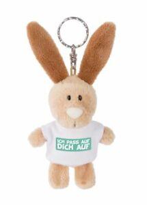 NICI Schlüsselanhänger Hase Ich pass auf Dich auf 10cm m. T-shirt