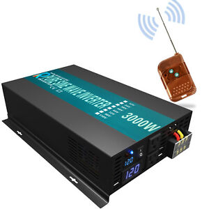 12V to 240V 3000 Watt Pure Sine Wave Inverter Car Power Truck Remote Switch Moto