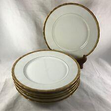 """6 Dinner Plates 9.75"""" Bawo & Dotter Elite Works Gold Banded Limoges Lot *1 chip*"""