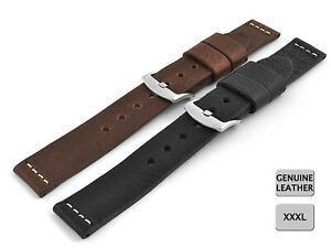 VERY STRONG GENUINE LEATHER WATCH STRAP EXTRA LONG RAVENNA XXXL 18, 20, 22, 24MM
