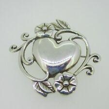 Flower Pin Brooch Sterling Silver Jezlaine Heart