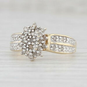 0.15ctw Diamond Cluster Ring 10k Yellow Gold Size 7 Engagement