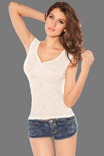 Sexy Women's Ladies White Lace Floral Front Top Casual Wear