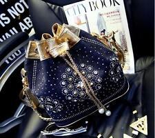 Women Crystal Denim Rhinestone Beads Handbag messenger Shoulder denim bucket Bag