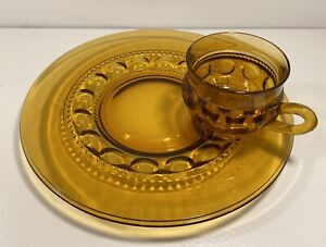 Vintage Amber King's Crown Thumbprint Snack Plate/Cup Set, Indiana Glass Company