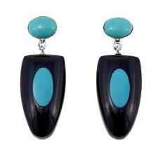 Jay King Turquoise & Black Tourmaline Drop Sterling Silver Drop Earrings  540312