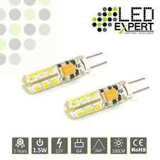 2 x 1.5W G4 LED Bulbs Round Jel Warm White 5 Year Warranty Super Bright
