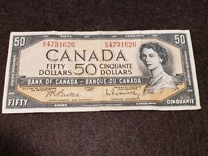 1954 Canadian $50.00 banknote Estimated EF20 to VF40 Condition