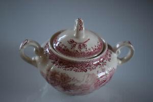 Villeroy & Boch V&B Burgenland rot/weiß Porzellan Zuckerdose